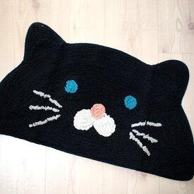 【猫型セミサークルマット】黒猫 ダイカットマット(マット ミニマット 足ふきマット 玄関マット キッチンマット バスマット ラグ 猫雑貨 猫グッズ ネコ雑貨 ねこ柄 キャット)