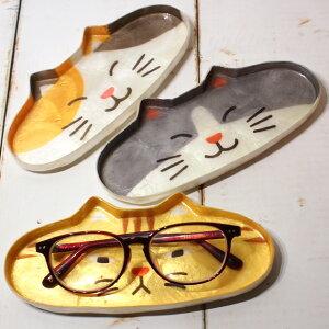 【猫顔ダイカットトレイ】カピス貝メガネトレイ【アジアン】(アクセサリートレイペントレイ輸入雑貨猫雑貨猫グッズネコ雑貨ねこ柄キャット)