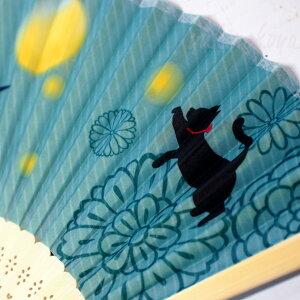 猫の扇子(ポリエステル・竹)(黒猫白猫せんす猫雑貨猫グッズネコ雑貨ねこ柄キャット)