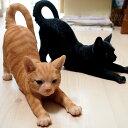 猫の置物 のび猫 茶トラ猫・黒猫【野川農園】(オーナメント ガーデニング ポリレジン製 猫雑貨 猫グッズ ネコ雑貨 ねこ柄 キャット)
