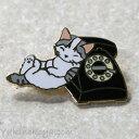 猫ピンズ 電話 サバトラ★ポタリングキャット(ピンバッチ 猫雑貨 ネコグッズ ねこ キャット)
