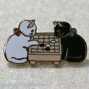 猫ピンズ 囲碁★ポタリングキャット 白猫 黒猫(ピンバッチ 猫雑貨 ネコグッズ ねこ キャット)