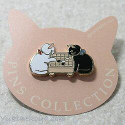 猫ピンズ蓄音機白猫★ポタリングキャット(ピンバッチ猫雑貨ネコグッズねこキャット)
