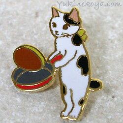 猫ピンズホットケーキ白黒猫★ポタリングキャット(ピンバッチ猫雑貨ネコグッズねこキャット)