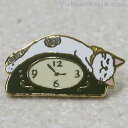 猫ピンズ 時計 白ぶち猫(緑)★ポタリングキャット(ピンバッチ 猫雑貨 ネコグッズ ねこ キャット)