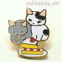 猫ピンズ ケーキ★ポタリングキャット 灰色猫 ぶち猫(ピンバッチ 猫雑貨 ネコグッズ ねこ キャット)