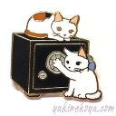 猫ピンズ 金庫破り★ポタリングキャット 三毛猫 白猫(ピンバッチ 猫雑貨 ネコグッズ ねこ キャット)