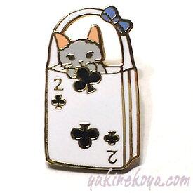 猫ピンズ トランプバッグ2 クローバー 灰色猫★ポタリングキャット(ピンバッチ 猫雑貨 ネコグッズ ねこ キャット)