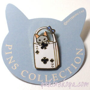 猫ピンズトランプバッグ2クローバー灰色猫★ポタリングキャット(ピンバッチ猫雑貨ネコグッズねこキャット)