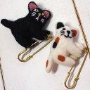 猫のブローチピン ウールモチーフ付き ぶらぶらアニマル(ショールピン ストールピン 黒猫 三毛猫 輸入雑貨 猫雑貨 …