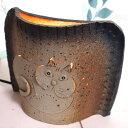 【在庫限り】猫のランプ 沢井俊二作【ハンドメイド】(照明 ライト 猫雑貨 猫グッズ ネコ雑貨 ねこ柄 キャット)