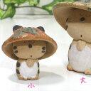【猫の置物・ハンドメイド】笠猫 ペーパーウェイト 小 (手作り 猫雑貨 ネコグッズ ねこ キャット)