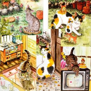 猫 ポストカード 琴坂映理 猫のポストカード 絵葉書 絵はがき 文房具 ステーショナリー 猫雑貨 猫グッズ ネコ雑貨 ねこ柄 キャット