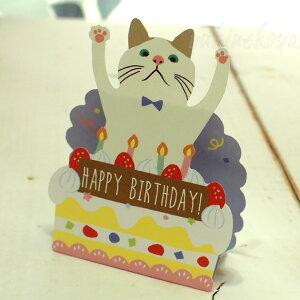 【猫のグリーティングカード】立てて飾れる立体グリーティングカード白猫ターチャンHAPPYBIRTHDAY(誕生祝)(フレンズヒル猫雑貨猫グッズネコ雑貨ねこ柄キャット)EC
