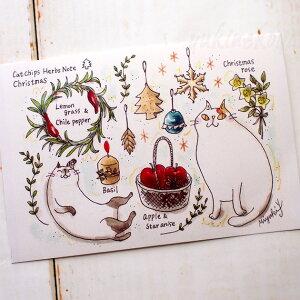 【猫のポストカード】吉沢深雪/Cat Chips Herbs Note Christmas クリスマスカード(クリスマスカード 絵葉書 絵はがき 猫雑貨 ネコグッズ ねこ キャット)