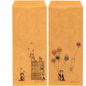 【猫の封筒】昔ながらの茶封筒「だるま落とし」(4柄12枚入り)★ポタリングキャット(猫雑貨ねこ雑貨ネコ雑貨猫グッズねこグッズネコグッズキャット)