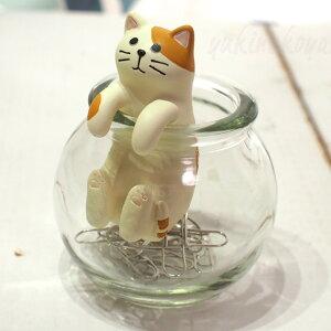 猫のクリップ入れ壺ねこクリップボトル★デコレ(DECOLE)HAPPYcatday(トラ猫・ハチワレ猫)(クリップホルダー猫雑貨猫グッズネコ雑貨ねこ柄キャット)