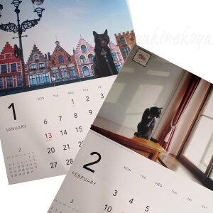 【2020年・猫のカレンダー】ヨーロッパを旅してしまった猫と12ヶ月黒猫ノロ壁掛けカレンダー【ラッキーシール対応】(グリーティングライフ猫雑貨猫グッズネコ雑貨ねこ柄キャット)