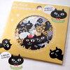 ネコ柄フレークシール黒猫ネコマンジュウ(8柄×4枚32枚入り)(猫雑貨ネコグッズねこキャット)EC