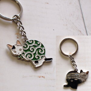 【猫のキーホルダー】ドロボー猫★ポタリングキャット(キーリングバッグチャーム猫雑貨ネコグッズねこキャット)