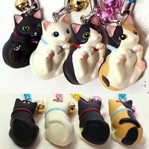 【猫のストラップ】赤ちゃん招き猫BabyCatストラップ(鈴付き根付猫雑貨猫グッズネコ雑貨ねこ柄キャット)