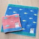 猫のハンカチ 白猫ターチャン タオルハンカチ【フィッシュターチャン】(ミニタオル ミニハンカチ 綿100% ブルー・ピンク 猫雑貨 ネ…