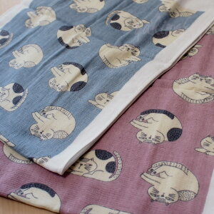 猫のガーゼてぬぐいたおるまる猫★ノアファミリー【日本製】(手拭いタオル猫雑貨猫グッズネコ雑貨ねこ柄キャット)