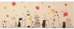 猫柄注染手ぬぐい【猫紅葉】(日本製)(手拭い猫雑貨猫グッズネコ雑貨ねこ柄キャット)