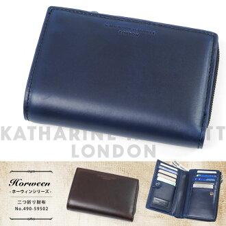 二折、 二折錢包男子的凱薩琳哈瑪尼特倫敦哈瑪尼特倫敦 Horween horwin 兩個折疊真皮牛皮皮包和錢包是 L 形扣件品牌