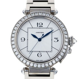 カルティエ CARTIER パシャ 42mm ベゼルダイヤ WJ1202M9 シルバー文字盤 メンズ 腕時計 【中古】
