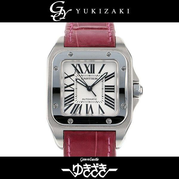 カルティエ CARTIER サントス100 MM W20106X8 アイボリー文字盤 ボーイズ 腕時計 【中古】
