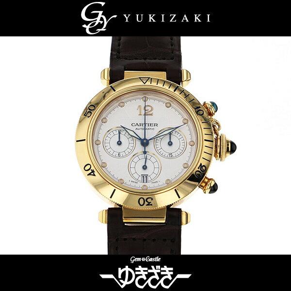 カルティエ CARTIER パシャ クロノグラフ シルバー文字盤 メンズ 腕時計 【中古】