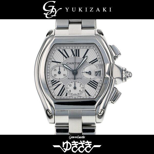 カルティエ CARTIER ロードスタークロノ W62019X6 シルバー文字盤 メンズ 腕時計 【中古】