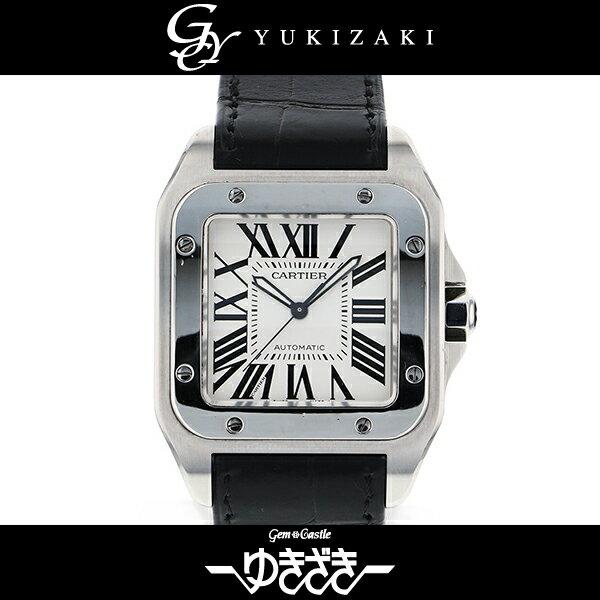 カルティエ CARTIER サントス100LM W20073X8 シルバー文字盤 メンズ 腕時計 【中古】