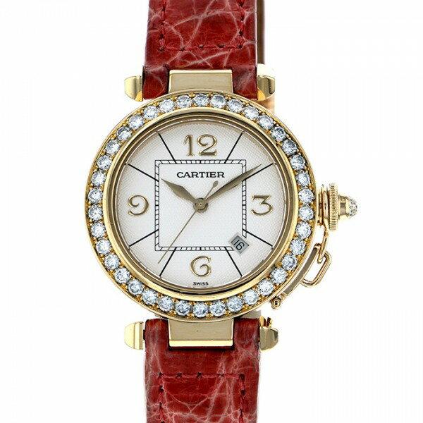 カルティエ CARTIER パシャ ベゼルダイヤ 2397 ホワイト文字盤 レディース 腕時計 【中古】
