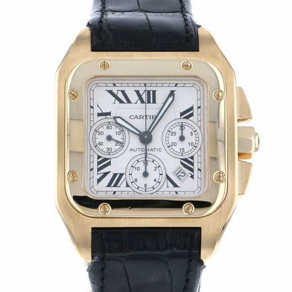 カルティエ CARTIER サントス 100XL クロノグラフ - シルバー文字盤 メンズ 腕時計 【中古】