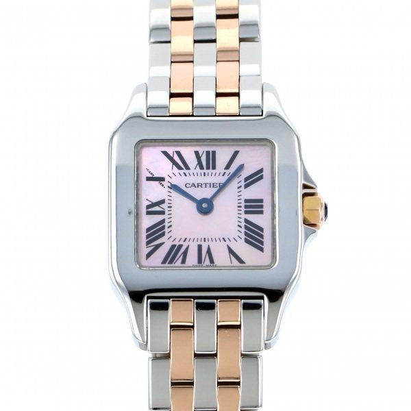 カルティエ CARTIER サントス ドゥモワゼルSM W25074Y9 ピンク文字盤 レディース 腕時計 【中古】