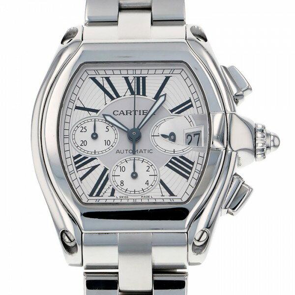 カルティエ CARTIER ロードスター クロノ W62019X6 シルバー文字盤 メンズ 腕時計 【中古】