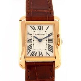 カルティエ CARTIER タンク アングレーズ SM W5310027 シルバー文字盤 レディース 腕時計 【中古】