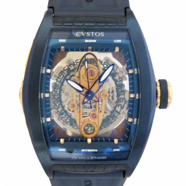 クストス CVSTOS チャレンジ シーライナー GMT CTV-SEA-CP5N ブルー/スケルトン文字盤 メンズ 腕時計 【未使用品】