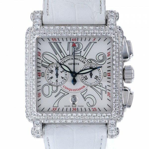 フランク・ミュラー FRANCK MULLER コンキスタドール コルテス クロノグラフ 10000CC D シルバー文字盤 メンズ 腕時計 【中古】
