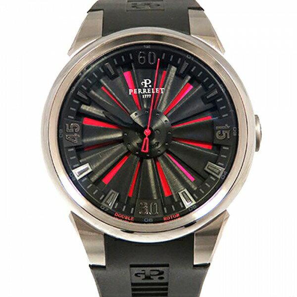 ペルレ PERRELET タービン A1064/2 ブラック文字盤 メンズ 腕時計 【新品】