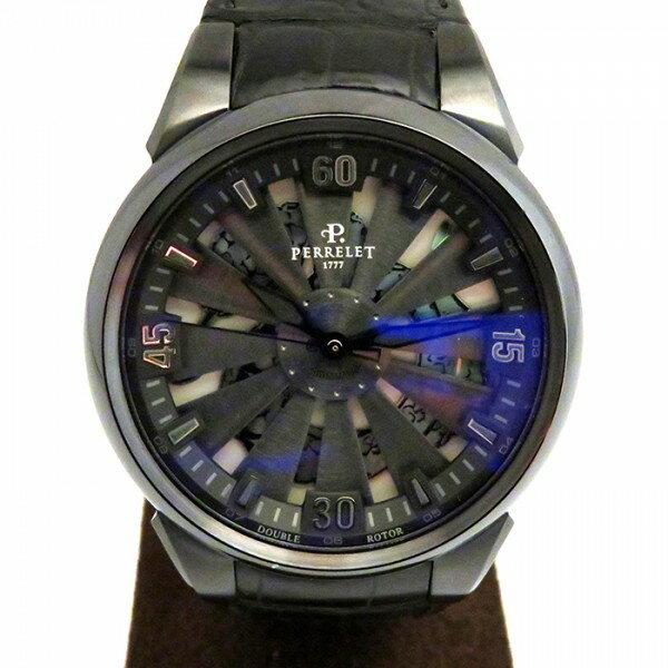 ペルレ PERRELET タービン A8001/1 ブラック文字盤 メンズ 腕時計 【新品】