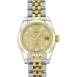 ロレックスROLEXデイトジャスト179173Gシャンパン文字盤レディース腕時計【中古】