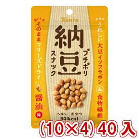 (本州一部送料無料)カンロ プチポリ納豆スナック 醤油味(10×4)40入 。