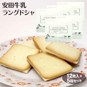 新潟 お土産 安田牛乳ラングドシャ12枚×5箱 新潟みやげ チョコ サンド ラング 牛乳 焼き菓子 スイーツ