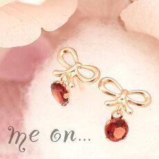 【meon...】K10ピンクゴールド・ガーネット付丸みのある曲線のリボンにひと際輝くガーネットが美しいプチリボン結びピアス