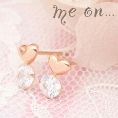 【meon...】K10ピンクゴールドぷっくり可愛いプチハート・キュービックジルコニアピアス