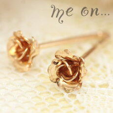 【meon...】選べる地金★K10ホワイトゴールド・K10ピンクゴールド・K10イエローゴールドプチ薔薇ピアス