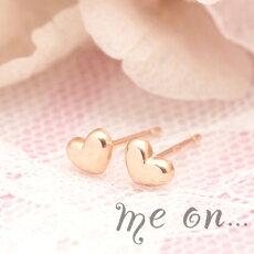 【meon...】K10ピンクゴールドぷっくり可愛いプリティハート・プチピアス